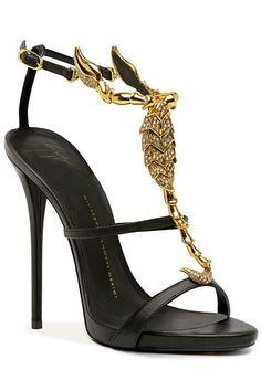 Giuseppe Zanotti Scorpio Gold Glittering Sandal Spring-Summer 2014 #Shoes #Heels #Zanottis