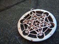 Small Metatron's Cube Pendant sterling por JeanBurgersJewellery, $360.00