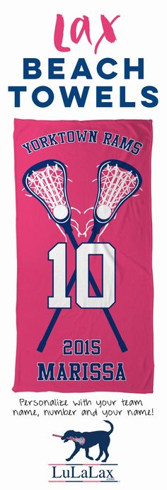 Great End of Season gifts! Our #lacrosse beach towels are the perfect way to show off their love of lacrosse all summer long!