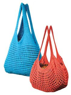"Crochet your own market bags with this easy-to-crochet pattern. Choose from 2 lacy Tunisian cotton market bags worked with a size L Easy Tunisian hook and cotton yarns. Designs include Blue Classic Market Bag (16"" x 22"") and Tangerine French Market Bag (17"" x 13"")."