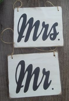 Rustic Wedding Signs Mr Mrs Bride Groom Chair by dlightfuldesigns, $16.00