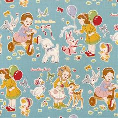 light blue children & animals fabric from Kokka Japan 1