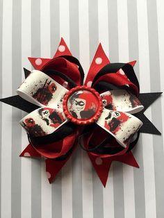 Harley Quinn and Deadpool Hair Bow by ChristinasKrafts on Etsy