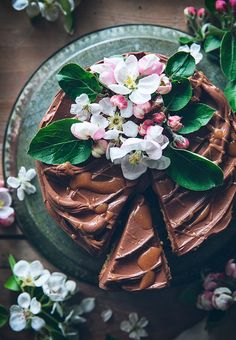 Almond cake with chocolate fudge frosting