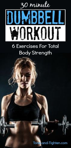 dumbbell exercises All you need are 30 minutes and 2 dumbbells for an at-home total-body workout! Combining the best dumbbell exercises into one amazing at-home routine! Best Dumbbell Exercises, Dumbbell Workout At Home, Cardio Workout At Home, Body Workout At Home, At Home Workouts, Body Workouts, Weight Training, Weight Lifting, Weight Loss