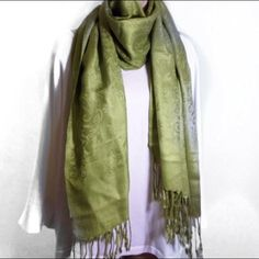 """Citron Green Scarf This scarf is so bright and beautiful. It measures 75"""" long from fringed edges. It is perfect condition!!  No pulls or snags!!! Lightweight and dresses up or down!!! HOST PICK FOR """"BEST IN ACCESSORIES"""" BY SLUC02!!!!! Accessories Scarves & Wraps"""
