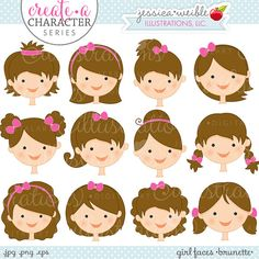 Brunette Girl Faces - Create A Character Series - Cute Digital Clipart - Commercial Use OK - Mix & Match Sets to Create Your Own Character on Etsy, $5.00
