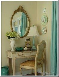 mirror, vaniti, corner desk, color, flea markets