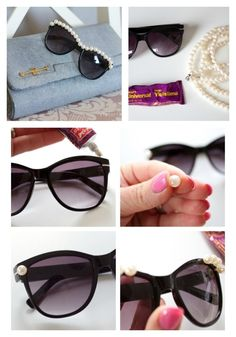 Hey DIY lovers, today we present to you 14 Interesting Ways To Decorate Your Sunglasses.The sunny weather is here and you cannot go out without your sunnies. Cool Glasses, Girl With Sunglasses, Red Hats, Hand Designs, Diy Craft Projects, Diy Clothes, Diy Fashion, Diy Gifts, Jewelery