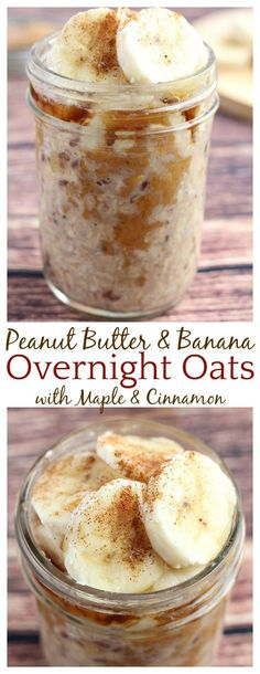 Mornings are very busy and these Peanut Butter and Banana Overnight Oats have definitely simplified them! I love the combination of peanut butter and banana especially when maple syrup and cinnamon ar is part of Overnight oats recipe - Overnight Oats Receita, Peanut Butter Overnight Oats, Banana Overnight Oats, Overnight Breakfast, Healthy Overnight Oats, Overnite Oats, Recipe For Overnight Oats, Peanut Butter Banana Oats, Overnight Oats Recipe Without Chia Seeds