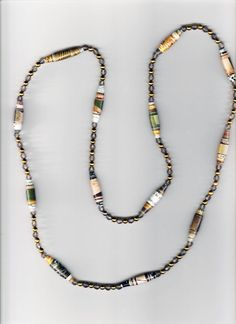 #20 - Handmade Paper Bead Necklace with gray bi-conebeads, round gold beads #JournalsbyJean