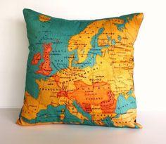Decorative throw pillow map cushion cover door mybeardedpigeon