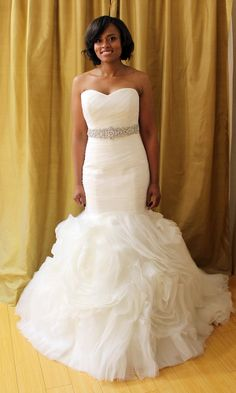 Katies something new: a Maggie Sottero 'Primrose' gown priced at $1,000 with a sweetheart ruched bodice and ruffled organza skirt with rosettes. #SBSN #Weddings
