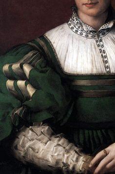 (Details) Portrait of a Woman (perhaps Matteo Sofferoni's Daughter), 1530-32, by Agnolo di Cosimo Bronzino (Italian, 1503-1572)