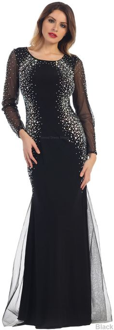 Long Sleeves Designer Dress Mother Of The Bride Evening Formal Stretchy Gown
