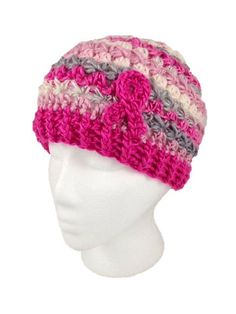 Breast cancer crochet hat
