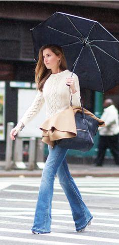 chunky cream sweater, slim jeans, navy handbag, camel coat