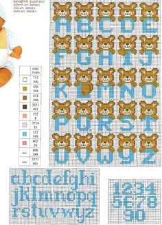 Cross Stitch Letters, Cross Stitch Art, Cross Stitching, Cross Stitch Embroidery, Plastic Canvas Letters, Disney Alphabet, Baby Cross Stitch Patterns, Graph Paper Art, Motifs Perler