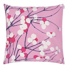 modern pink marimekko lumimarja pillow from crate and barrel.
