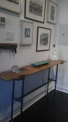 Reclaimed Wood Console Table. $475.00, via Etsy.    industrial table and key hook