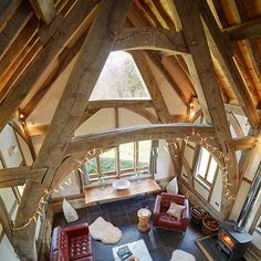 living room in barn self build with high timber frames Self Build Houses, Small Places, Property Prices, Style At Home, Outdoor Furniture, Outdoor Decor, Building A House, Home Goods, Barn