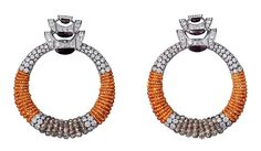 L'Odyssée de Cartier Parcours d'un Style high jewellery earrings in white gold, with mandarin garnet beads, brown diamond beads, obsidian and diamonds.