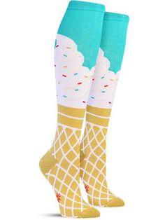 cool ice cream knee high novelty socks