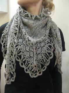 Boho KNITTED Light-grey Lacy Shawl by CrochetKnitAccessory on Etsy