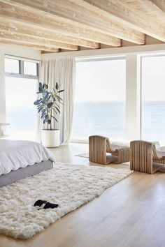 The view from Lunya founder Ashley Merrill's beach house master bedroom. Beach House Bedroom, Beach House Decor, Home Bedroom, Home Decor, Modern Beach Decor, Beach House Interiors, Beach Apartment Decor, Master Bedrooms, Beach Inspired Bedroom