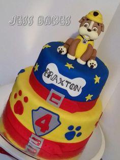 Paw patrol cake. Rubble topper. Chocolate and caramel cakes. By Jess www.jessbakes.net