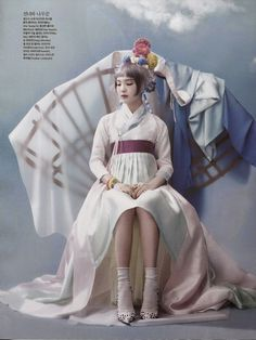"The Terrier and Lobster: ""Once Upon a Time"": So-Hee Song in High Fashion and Traditional Korean Costume (Hanbok) by Hyea-Won Kang for Vogue Korea June 2014 Korean Traditional Clothes, Traditional Fashion, Traditional Dresses, Vogue Korea, Asian Fashion, Fashion Art, Editorial Fashion, High Fashion, Fashion Design"