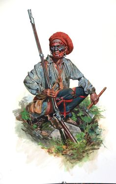 This is an Oneida Indian who is allied with the patriots during the Saratoga campaign. Records show General Gates had them issued red woolen caps (to differentiate them from British allied Native Americans) . Some (including Stockbridge Tribe) were also issued new muskets (almost certainly French) , shot bags ,powder horns and a few with cartridgeboxes. Artist: Don Troiani