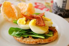 Egg with bacon on Wholegrain muffin.