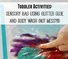 Sensory Bag Using Glitter Glue and Body Wash Here is a very frugal toddler activity that involves using body wash and glitter glue. And it's NOT messy!! Awhile back I had a bunch of coupons for free body wash. I decided to combine the body wash with some glitter glue from the dollar store and …