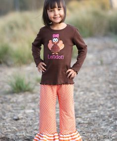 Look at this Juxby Brown Turkey Personalized Tee & Pants- Infant, Toddler & Girls on #zulily today!