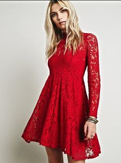 NWOT $128 Free People Red Lace Dress fit & flare long sleeve mock turtle  S #FreePeople #lacedress #Festive