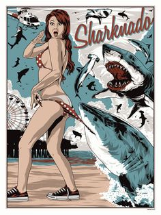 Sharknado!! The only thing missing is the scar on her leg and a chainsaw. Nice pop culture references in this poster design. By Anthony Petrie.