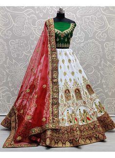 Long Choli Lehenga, Green Lehenga, Lehnga Dress, Bridal Lehenga Choli, Silk Lehenga, White Saree, Red Saree, Saree Collection, Lace