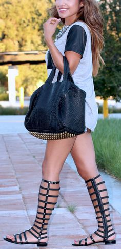 Gladiator Sandals | Bottom Gold Studded Bag | Heather Grey and Leather Sleeve and Pocket Top