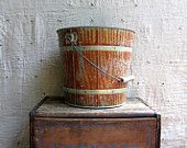 vintage 1930s FAUX BOIS galvinized steel bucket // industrial farm house decor