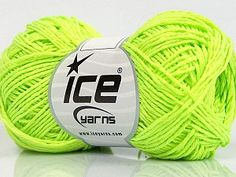 Natural Cotton Fine Neon Green  Fiber Content 100% Cotton, Neon Green, Brand Ice Yarns, Yarn Thickness 2 Fine  Sport, Baby, fnt2-56504 Cheap Yarn, Ice Yarns, Good And Cheap, Cotton Lights, Neon Green, Camilla, Fiber, Content, Natural