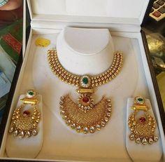 Ball haram with chandbali pendant – boutiquedesignerjewellery.com #weddingjewelry
