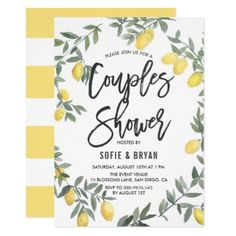 Boho Watercolor Lemon Wreath Couples Shower Card - rustic gifts ideas customize personalize