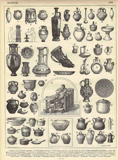 Antique Pottery Black and White Engraving from the French Encyclopedia Nouveau Larousse Illustre Poterie Print