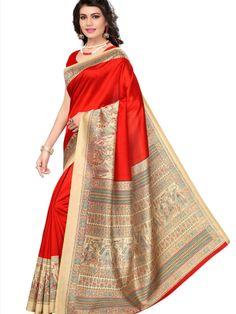 bad3e09d5630f Red Mysore Silk Printed Saree