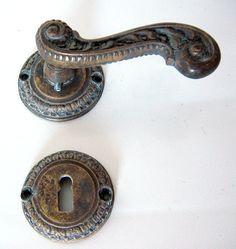 Klamka mosiężna stylizowana na starą Retro Handmade
