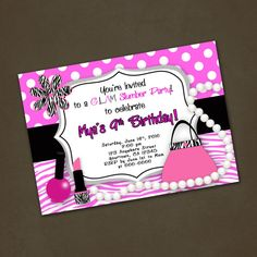 Glam Slumber Party Personalized Birthday by PinkSkyPrintables, $12.00