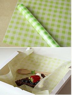 Green Check Wax Paper 25 sheets by WonderlandRoom on Etsy, $2.99