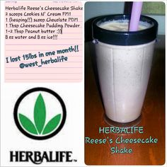 Herbalife Reeses Cheesecake Shake: Add 8 oz of cold water to your blender cup, add 2 scoops Cookies N Cream Formula 1 Healthy Meal, 1 heaping scoop of Chocolate Protein Drink Mix, 1 teaspoon of Sugar  Fat Free Cheesecake Pudding Mix, and a dollop of Peanut Butter. Top it off with 8 oz of ice, BLEND, and ENJOY!! :) Herbalife shakes Herbalife Herbalife24 Herbalifers Herbalifer