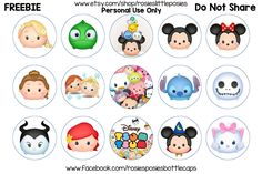 Click to save full size image.  Free Tsum Tsum Bottle Cap Images. Freebie Printable. Birthday, hair bow, diy.